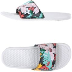 Nike Sandals ($67) ❤ liked on Polyvore featuring shoes, sandals, black, nike, floral print flat shoes, nike footwear, rubber sole shoes and black floral shoes