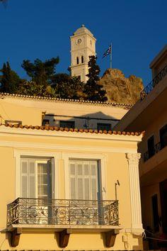 Neoclassical house with beautiful balcony in Poros island, Argosaronic gulf, near Athens, Attica, Greece Greek Blue, Greece Islands, Neoclassical, Athens, Attica Greece, Beautiful Places, Around The Worlds, Europe, Project 3