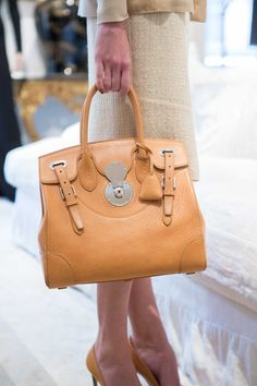 Ralph Lauren Resort 2016: Vintage tan burnished vachetta soft Ricky bag