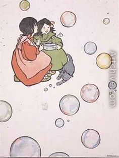 Blowing Bubbles illustrated childrens book - Florence Harrison