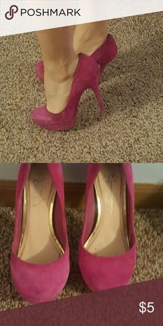 Jessica Simpson heels These hot pink Jessica Simpson suede heels are perfect for going out! These were my favorite heels in college, but I just don't wear them anymore. They are slightly dirty but still in great shape! Jessica Simpson Shoes Heels
