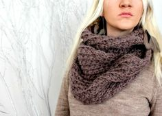 Hand Knitted Infinity Scarf  Taupe by LoveandKnit on Etsy, $70.00