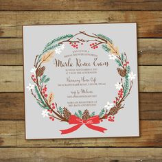 winter wreath shower invitation printable