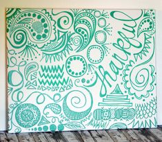 Hand Lettering Painted Canvas Wall Art Doodle Free Hand One-of-a-Kind Thankful Wall Hanging Emerald Green Whimsical Wall Decor Canvas Art on Etsy, $40.00