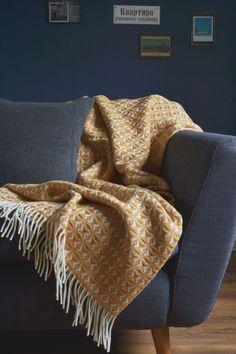 The British Blanket Company: Mustard Yellow Wool Throw, ochre yellow Yellow Throw Blanket, Yellow Blankets, Cushions On Sofa, Mustard Bedroom, Mustard Bedding, Sofa Throw Blanket, Yellow Sofa, Room, Sofa Blanket