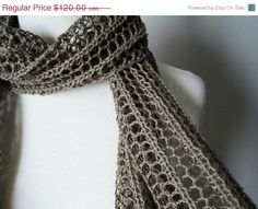 The Laszlo Scarf in Lichen hand knit in pure cotton by awkward