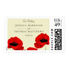 Red Watercolor Poppies Floral Wedding Collection Postage