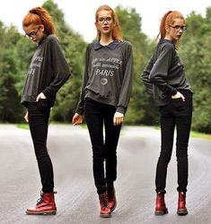 Absolutely cute an comfy with black skinners, doc martens, ponytail, and a  lovely