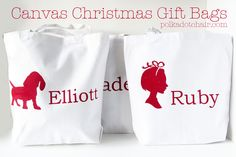 Personalized Canvas Christmas Gift Bags