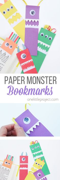 These paper monster bookmarks are so easy to make and make a great back to school craft for kids! Hook the monsters into a book for a silly bookmark! # back to school crafts for kids Paper Monster Bookmarks - One Little Project Back To School Crafts For Kids, Summer Crafts For Kids, Halloween Crafts For Kids, Projects For Kids, Diy For Kids, Halloween Party, Craft Projects, Summer Diy, Bookmarks Diy Kids