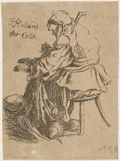 Peasant Woman with Cats Warming Hands over Cauldron John Holland, British, 1735, died after 1799. After Jacques Callot, French, 1592 - 1635.