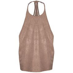 Ruched Suedette Draped Back Halter Top Taupe featuring polyvore, fashion, clothing, tops, drapey tops, brown halter top, shirred top, ruched halter top and drape top