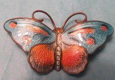 """2"""" Enamel Hroar Prydz Norway Sterling Butterfly Pin Brooch in Deco Colors"""