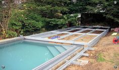 how to cover your pool with a deck on wheels Backyard Pool Designs, Backyard Sheds, Swimming Pools Backyard, Pool Decks, Piscina Diy, Hidden Pool, Pool Enclosures, Rectangular Pool, Home Landscaping
