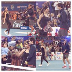 Deepika plays a friendly match with Roger Federer at IPTL 2014 . #bollywoodxoxo #deepikapadukone #rogerfederer