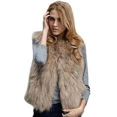 Jlong Women fashion Fox Faux Fur Short Vest Jacket Fluffy Coat Waistcoat Outwear - http://www.darrenblogs.com/2017/01/jlong-women-fashion-fox-faux-fur-short-vest-jacket-fluffy-coat-waistcoat-outwear/