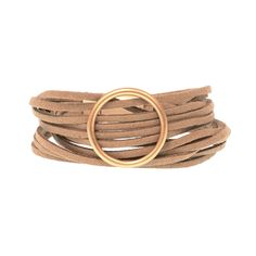 Camel Multi Suede Gold Ring Bracelet