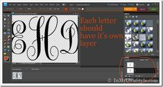 ❤Step by step photo tutorial showing how to make a large monogram cutout from foam board - easy, on my computer. /In My Own Style❤ Woodworking Guide, Custom Woodworking, Woodworking Projects Plans, Cricut Fonts, Cricut Vinyl, Diy Cutting Board, Cricut Explore Air, Photoshop Elements, Photoshop Actions