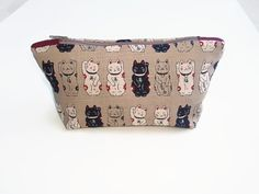 Lucky Cat Make Up Bag Japanese Fortune Cat Zip by olganna on Etsy