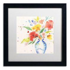 "Trademark Art ""Vibrant Bouquet"" by Sheila Golden Framed Painting Print Size: 16"" H x 16"" W x 0.5"" D"