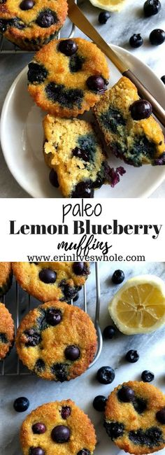 These Paleo Lemon Blueberry Muffins are a healthy treat perfect for summertime. They are made gluten-free, dairy-free and pack a nutritious punch! Paleo Lemon Blueberry Muffins perfect for a healthy summertime treat! Paleo Lemon Blueberry Muffins, Lemon Muffins, Blue Berry Muffins, Paleo Lemon Cake, Paleo Dessert, Dessert Recipes, Paleo Recipes, Desserts, Healthy Breakfast Recipes