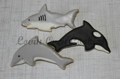 Dolphin, Shark & Killer Whale Decorated Sugar Cookies - 12 Pieces by Lovin Oven Cookies on Gourmly