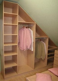 Résultats de recherche d'images pour « designs for narrow closets with slanted ceilings »