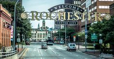 Rochester NY city street buildings architecture photo
