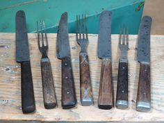 Antique Civil War Era Flatware Knives and Forks . 3 Tined Wood and Pewter Handled Forks by 13thStreetEmporium on Etsy