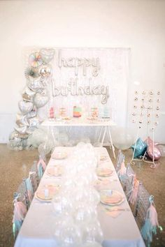"""Party tables from an Iridescent """"Be Bubbly"""" Birthday Party on Kara's Party Ideas   KarasPartyIdeas.com (14)"""
