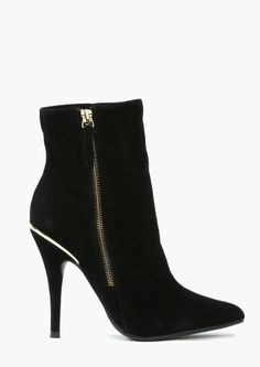 Black Suede Boots with Heels and a zipper down the side. (Ankle Boots)....