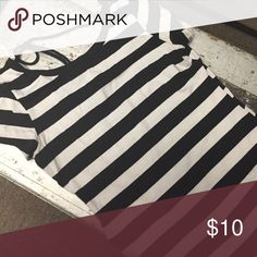 Striped shirt Classic black and white tee. Size L. Fits snug and fitted. Tops Tees - Short Sleeve