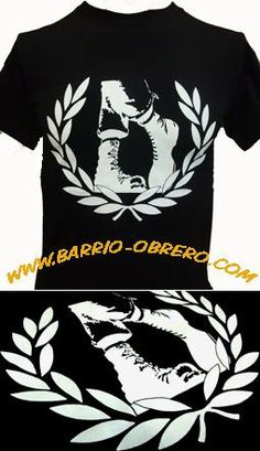 (ref. CAM-1.081) Camiseta manga corta - BOTAS LAUREL - Negra. 12,90 euros. Pedidos (Orders): www.barrio-obrero.com  Punk and Skinhead mailorder. We serve orders to all countries.