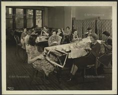 New York Association for the Blind, Interior, Women Knitting., Blind persons, Charitable organizations, Fifty-ninth Street (New York, N.Y.), gelatin silver print, Interiors, Knitting, New York (N.Y.), New York Association for the Blind, Photograph, Yarn