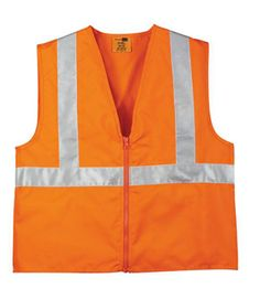 "Cornerstone™  ANSI Compliant Safety Vest. This highly visible safety vest meets ANSI Class 2 standards. 100% polyester oxford - 3M taping for superior reflective capability - Two vertical and one horizontal 2"" wide reflective taping on front and back Dyed-to-match zip closure.- Arizona Cap Company - (480) 661-0540 Custom Printed & Embroidered. Visit our website for the colors available and the price."