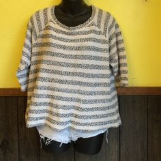 LUCKY BRAND black and white sweater Sweater material on outside, smooth material on the inside. Has 3/4 sleeves. No flaws. No pilling or pulls. Very comfy and cozy. Lucky Brand Sweaters Crew & Scoop Necks