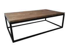 This sleek coffee table is from ABC Carpet & Home. An industrial base is topped by rough-hewn teak to create a coffee table that is both contemporary and rustic. The unique grain and long planks of warm teak are replete with rustic knots and holes, while the clean lines and low base add a modern touch.