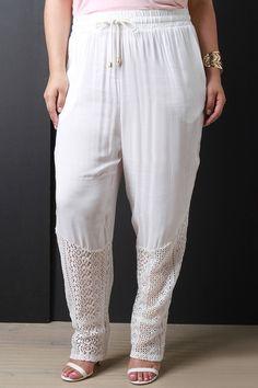 Crochet Hem Drawstring Waist Harem Pants