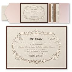 40% Off Wedding Invitations and Save the Dates     Elegant Swirls - Invitation with Pocket and Backer