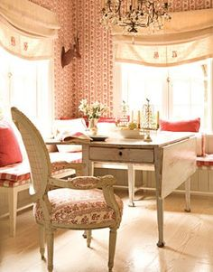 The color red, famous on Swedish Country exteriors also shows up again and again in Swedish interiors. It offers a fresh look when paired wi...