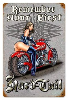 Vintage and Retro Wall Decor - JackandFriends.com - Vintage First Hard Tail  - Pin-Up Girl Metal Sign, $39.97 (http://www.jackandfriends.com/vintage-first-hard-tail-metal-sign/)