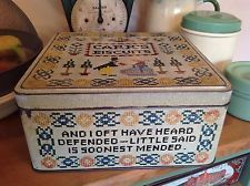 """Vintage Carr's Biscuit Tin 9.25"""" Sq.Vintage Collectable Cross-stitch Biscuit Tin"""