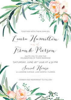 Printable Wedding Invitation Set Wedding by WhiteWillowPaperCo                                                                                                                                                                                 More