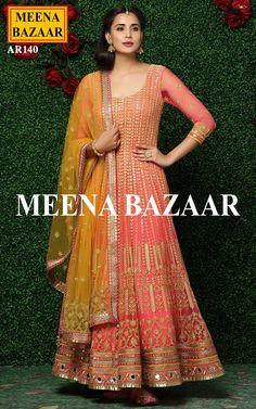 Coral Embroidered Anarkali Suit @ MeenaBazaar
