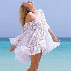 Summer Women Sexy Lace Crochet Bikini Cover Up 2019 Hollow Out Bathing Suit Cover-up Solid Color Swimwear Cover-ups Beach Dress Sexy Bikini, Lace Bikini, Crochet Bikini, Crochet Lace, Lace Swimsuit, Crochet Blouse, Floral Bikini, Swimwear Cover Ups, Bikini Cover Up