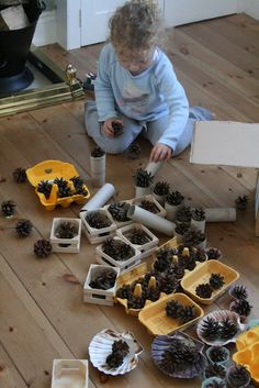 pine cone open-ended play: paired ours with tree cookies, ever green branches, forest animal figurines and mirrors