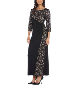 d0842cef022 R M Richards Black   Taupe Lace-Panel Gown - Women