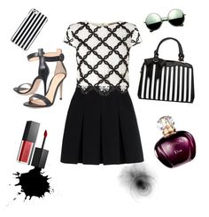 """""""Black and White"""" by karinyferreira ❤ liked on Polyvore featuring Alexander Wang, Lipsy, Gianvito Rossi, Smashbox, MICHAEL Michael Kors and Revo"""