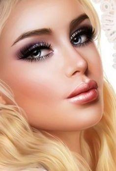 Fantasy Art Women, Fantasy Girl, Pretty Makeup Looks, Pretty Face, Girl Face, Woman Face, Feminine Face, Pin Up, Pix Art