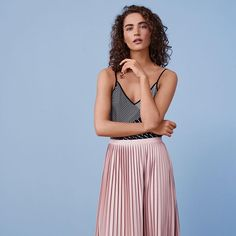Candy colours just got cool. Work them into your summer wardrobe by teaming a leather pleated midi skirt with trainers or layer a white tee under a pretty slip dress. #TopshopStyle #Pastels